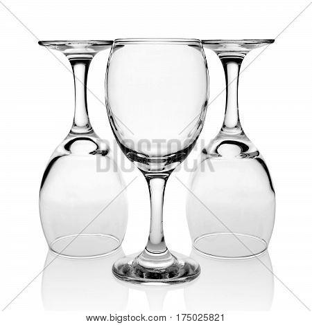 Three empty wineglasses isolated on white background