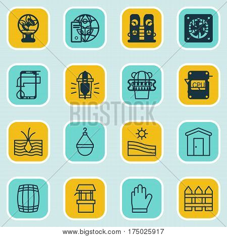Set Of 16 Holticulture Icons. Includes Cask, Water Source, Hang Lamp And Other Symbols. Beautiful Design Elements.