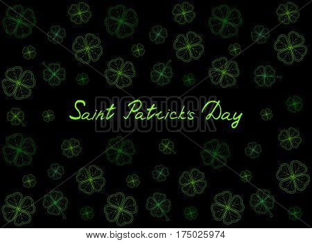 Saint Patrick's Day greeting card with emerald tender clover leaves and text on black background. Inscription - Saint Patrick's Day. vector illustration.