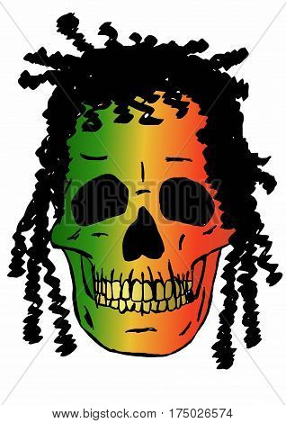 Rasta skull image with Africa flag colors