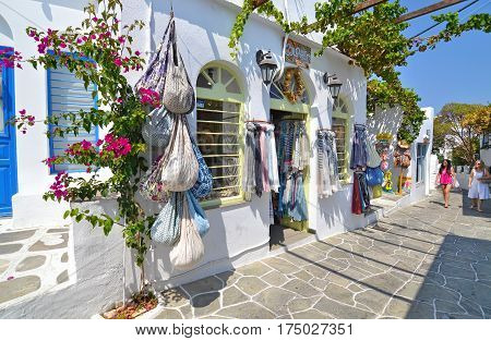 APOLLONIA SIFNOS GREECE, AUGUST 21 2016: shops with clothes and souvenirs at Apollonia Sifnos Greece. Editorial use.