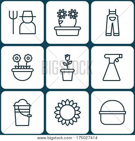 Set Of 9 Planting Icons. Includes Sprinkler, Floret, Bucket And Other Symbols. Beautiful Design Elements.