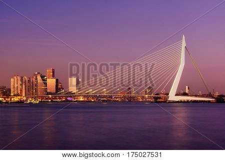 Amazing Sunset View Of Erasmus Bridge And Several Skyscrapers In Rotterdam, Holland.