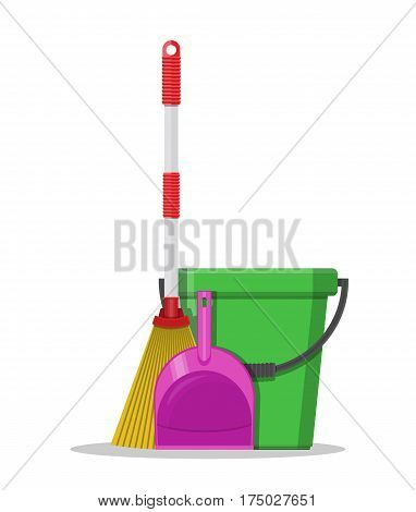 Plastic bucket, dustpan and broom. House cleaning equipment. Household accessories. Vector illustration in flat style