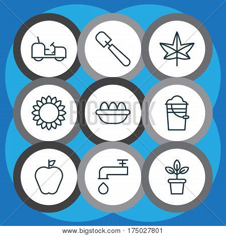 Set Of 9 Farm Icons. Includes Bucket, Ovum, Flowerpot And Other Symbols. Beautiful Design Elements.