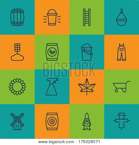 Set Of 16 Garden Icons. Includes Hang Lamp, Helianthus, Bucket And Other Symbols. Beautiful Design Elements.