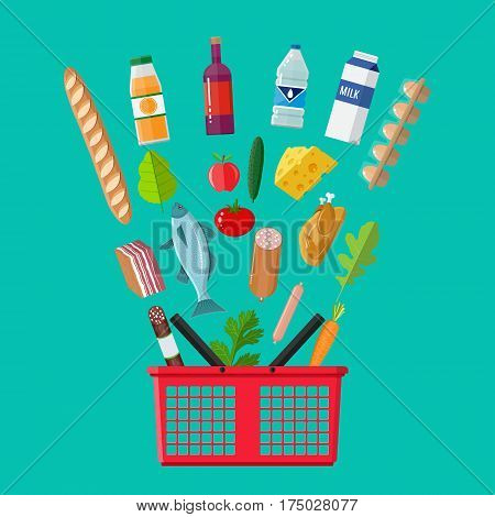Red plastic shopping basket full of groceries products. Grocery store. Fresh organic food and drinks. Vector illustration in flat style