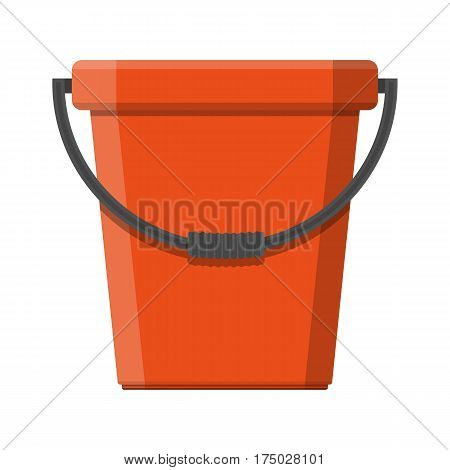 Red plastic bucket with handle. House cleaning equipment. Household accessories. Vector illustration in flat style