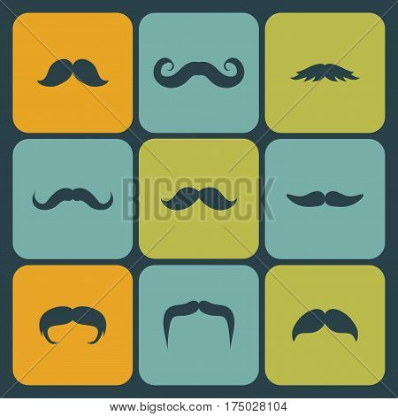 Vector icon set of different men mustache in trendy flat style
