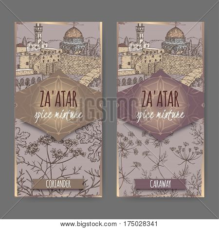 Two Zaatar spice mixture labels with Jerusalem town landscape, coriander and caraway sketch. Culinary herbs collection. Great for cooking, medical, gardening design.