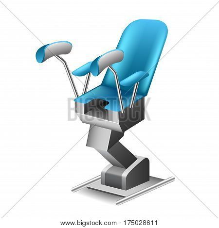 Gynecological chair isolated on white photo-realistic vector illustration