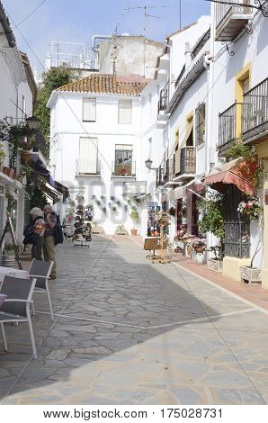 MARBELLA, SPAIN - FEBRUARY 27, 2017: White Street of the historic center of Marbella a city of the province of Malaga Andalusia Spain.