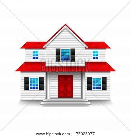 House with wide porch isolated photo-realistic vector illustration