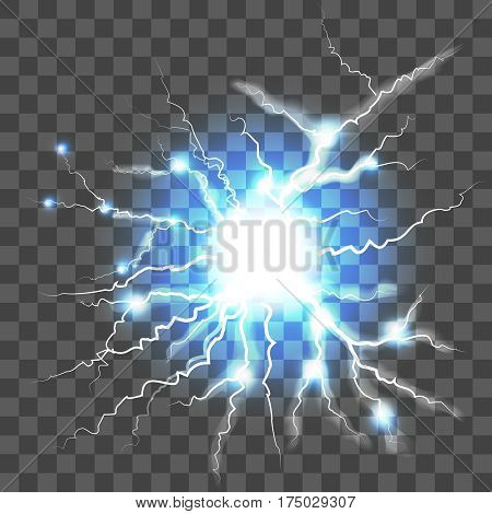 Thunder Lightning on Transparent Background Symbol of Natural Power Sky or Magic. Vector illustration