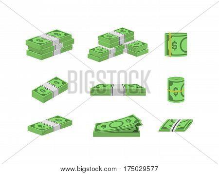 Money Dollar Set Packing in Bundles of Bank Notes Finance Currency Concept. Vector illustration