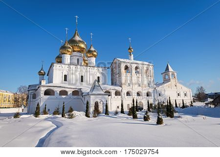 View of Uglich Resurrection Monastery in winter, Russia