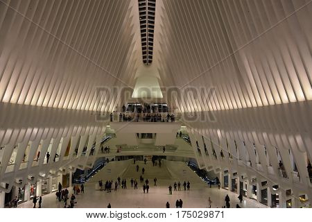 NEW YORK, NY - FEB 19: Inside the Oculus of the Westfield World Trade Center Transportation Hub in New York, as seen on Feb 19, 2017. The mall opened on August 16, 2016.