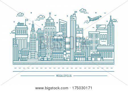 big city life, megalopolis, contour line art illustration