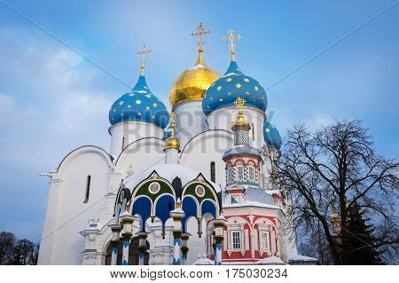 Beautiful Assumption Cathedral of the Trinity Lavra of St. Sergius in Sergiyev Posad, Russia