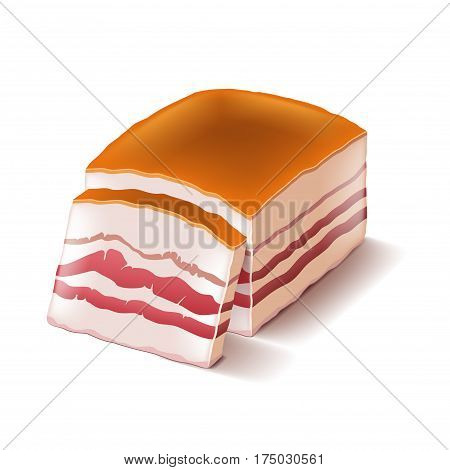 Pork lard isolated on white photo-realistic vector illustration