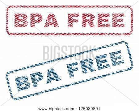 Bpa Free text textile seal stamp watermarks. Blue red fabric vectorized texture. Vector tag inside rounded rectangular shape. Rubber sticker with fiber textile structure.