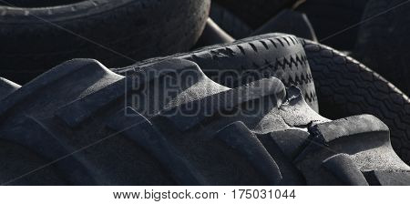 Old tires pile for recycling