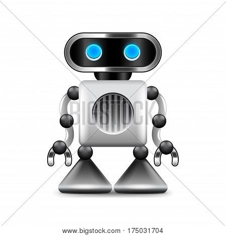 Robot with triangular legs isolated photo-realistic vector illustration