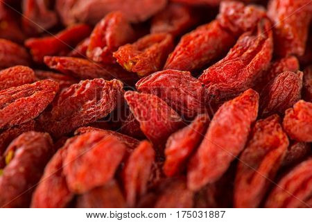 Dry goji berry macro photo. Antioxidant fruit.