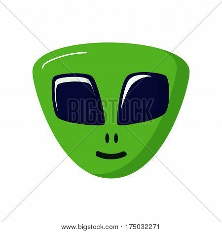 green stranger smiling. Alien life. UFO. Space theme. Icon on white