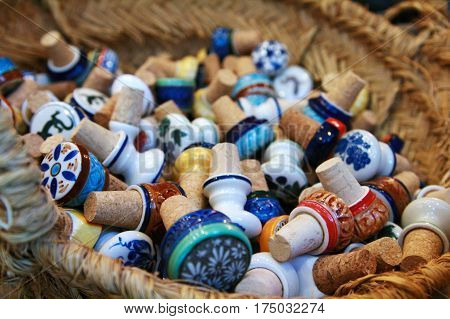 colorful corks in marketplace, La Palma, Spain
