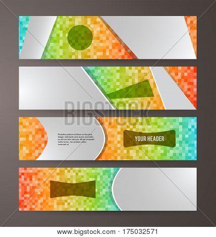 Set Banner Headline Horizontal Layout Mosaic Background04