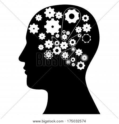 black contour human with white gear icon, vector illustraction design
