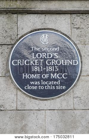 LONDON UK - FEBRUARY 16TH 2017: A plaque in St. Johns Wood in London marking the location of the second Lord's Cricket Ground (1811-1813) taken on 16th February 2017.