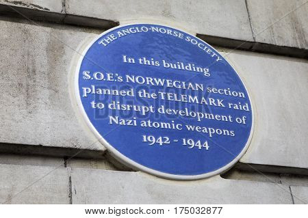 LONDON UK - FEBRUARY 16TH 2017: A blue plaque on the Chiltern Court Building on Baker Street in London marking where S.O.Es Norwegian section planned the Telemark Raid during the 2nd World War taken on 16th February 2017.