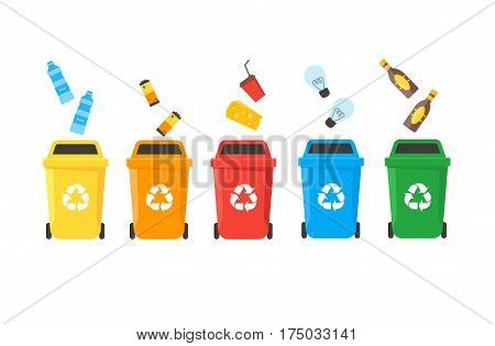 Colorful Recycle Bins Set Row with Examples for the Separation and Utilize of Garbage. Saving Of The Environment Vector illustration
