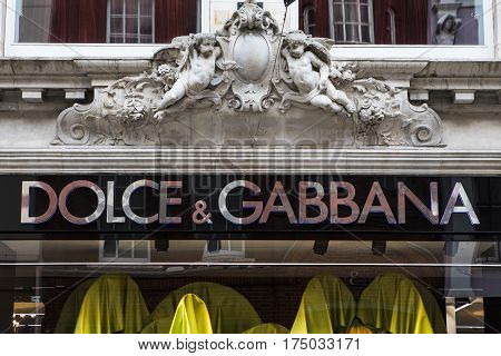 LONDON UK - FEBRUARY 16TH 2017: A sign for the Dolce and Gabbana shop on New Bond Street in central London on 16th February 2017.