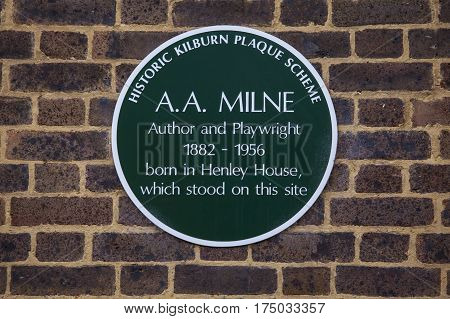 LONDON UK - FEBRUARY 16TH 2017: A plaque marking the location where author and playwright A.A Milne was born in Kilburn West London taken on 16th February 2017.
