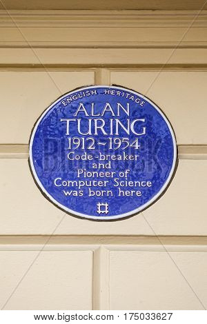 LONDON UK - FEBRUARY 16TH 2017: A blue plaque on Warrington Cresent in the Maida Vale area of London marking the location where famous Code-breaker Alan Turing was born taken on 16th February 2017.