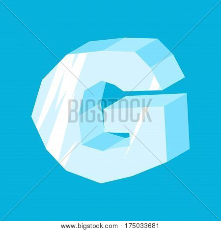 Letter G Ice Font. Icicles Alphabet. Freeze Lettering. Iceberg Abc Sign