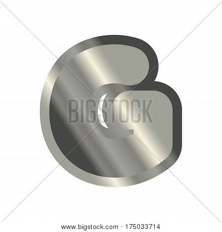 Letter G Steel Font. Metal Alphabet Sign. Iron Abc Symbol. Chromium Lettering. Silver Typography