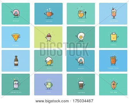 Vector set of flat food icons, cute cartoon characters, street fast food menu