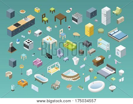 Bid set of vector isometric furniture for bathroom, living room, bedroom, kids, kitchen, interior design home icons, 3d flat house object, electric equipment