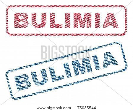 Bulimia text textile seal stamp watermarks. Blue red fabric vectorized texture. Vector caption inside rounded rectangular shape. Rubber sign with fiber textile structure.