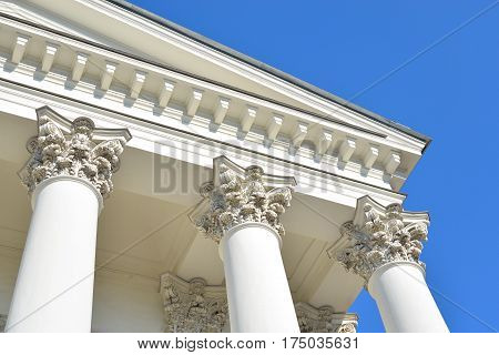 Columns of Trinity Cathedral Orthodox Cathedral in Troitsky Prospekt in the Admiralty district of St. Petersburg. The full historical name the Holy Trinity Cathedral Life Guards Izmailovsky regiment.