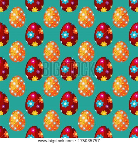 Easter eggs spring colorful seamless pattern celebration decoration holiday icons. Vector illustration easter eggs for Easter holidays design. Happy colorful season pattern traditional paint gift.