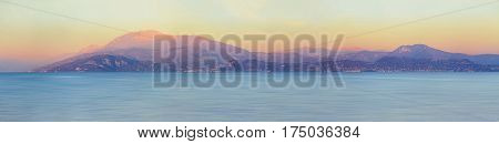Panorama of Consorzio Lago di Garda lake, Lombardia, Italy