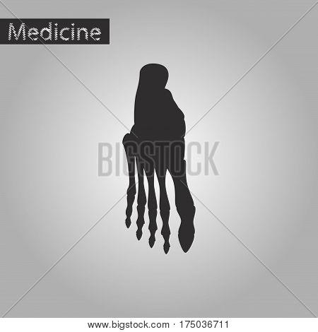 black and white style icon of foot skeleton