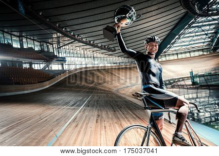 Young sportsman on a cycle track
