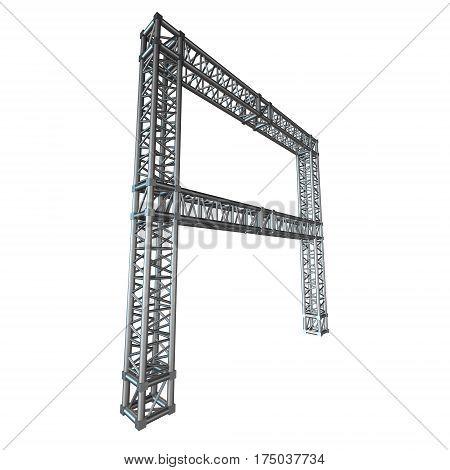 Steel truss girder element banner construction. 3d render isolated on white