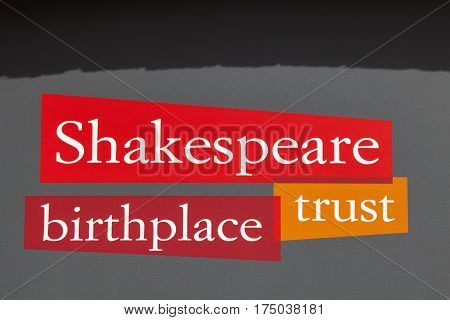 STRATFORD-UPON-ACON UK - MARCH 2ND 2017: The logo of the Shakespeare Birthplace Trust in the historic town of Stratford-Upon-Avon in the UK on 2nd March 2017.